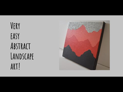 Easy Abstract Mountains Landscape For Beginners On A Deep Edge Canvas | Paint With Me #3