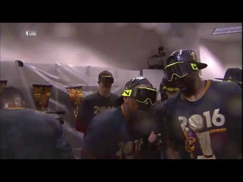 Cleveland Cavaliers celebrate 2016 NBA Championship in the locker room