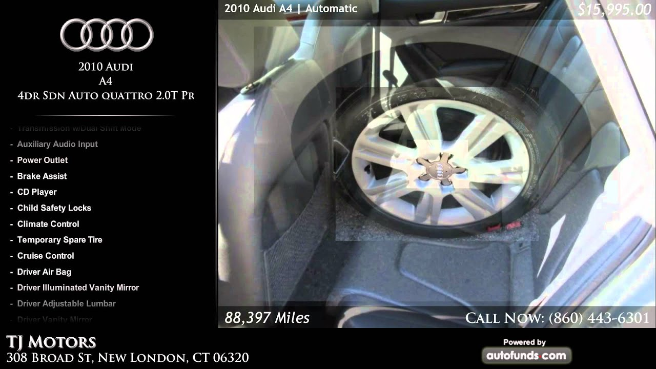 Used 2010 audi a4 tj motors new london ct sold youtube for Tj motors new london ct