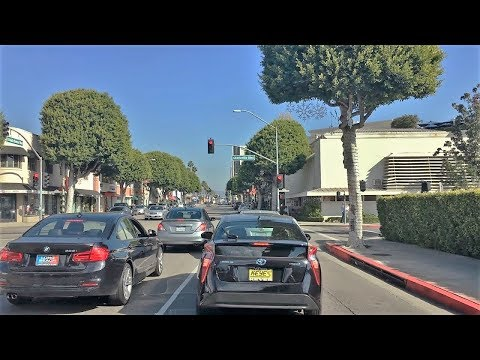 Driving Downtown - LA's Santa Monica Blvd - LA California US