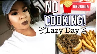WHAT I EAT IN A DAY! NO COOKING! LAZY DAY FULL DAY OF EATING! ft GRUBHUB