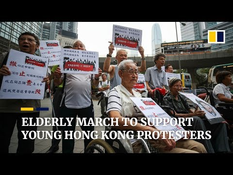 Elderly march in support of young Hong Kong anti-extradition protesters