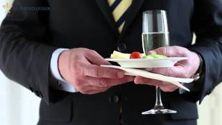 How to: Hold a Champagne Glass, a Plate as well as a Napkin in one Hand.