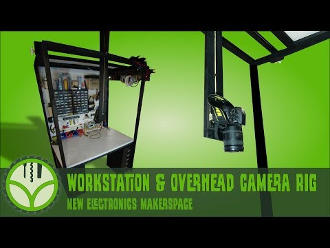 DIY electronics workstation with overhead camera rig and lighting