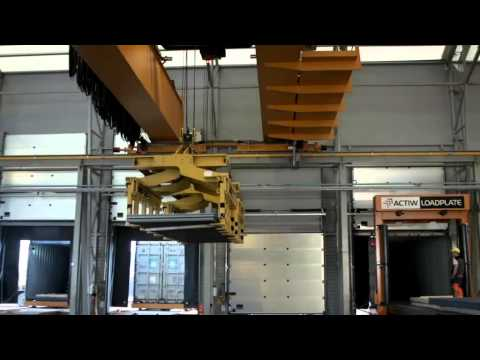 Automatic container loading equipment -Actiw LoadPlate Multi, Video Port of Raahe