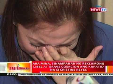 Ara Mina, sinampahan ng   reklamong libel at grave   coercion ang kapatid na si   Cristine Reyes
