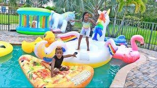 Swimming Pool Floaties Race Challenge YAYA vs. DJ