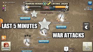 Last 5 MINUTES War Attacks Trojan Horse war #1| Clash of clans