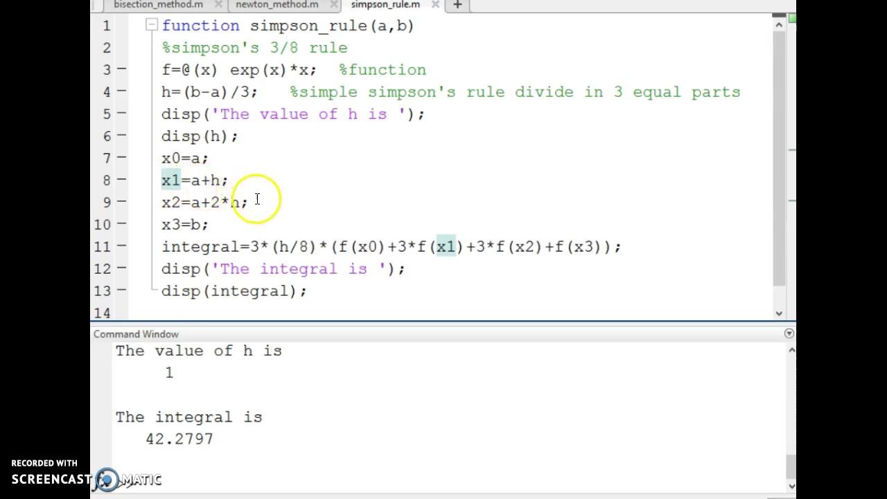 Simpson's 3/8 Rule Basic Matlab