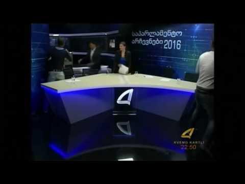 Candidates for Georgia parliament brawl on TV