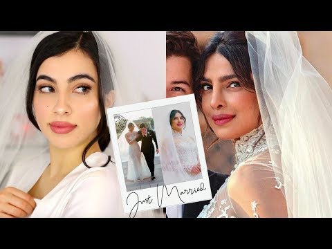 Priyanka Chopra Western Wedding Makeup | Ralph Lauren Wedding Dress Look