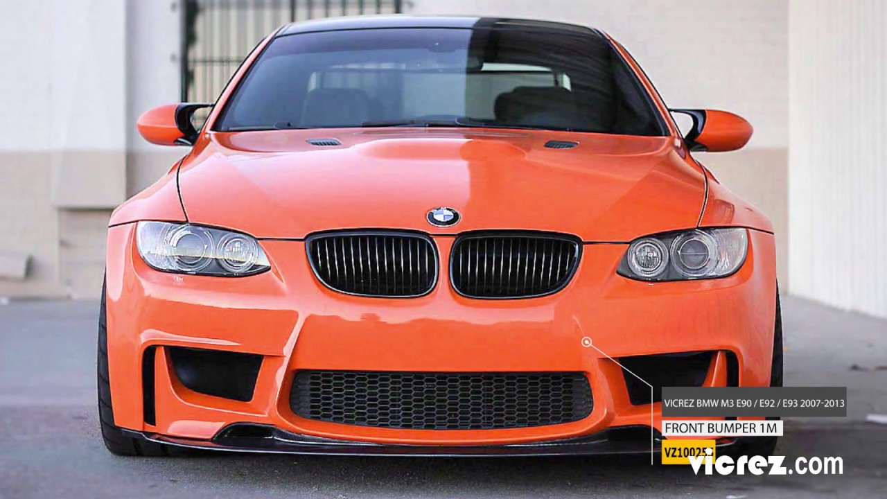 small resolution of vicrez bmw m3 e90 e92 e93 2007 2013 1m style polyurethane front bumper vz100255 youtube