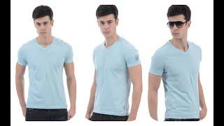 Flying Machine Solid Men's V-neck Blue Tshirt Flipkart