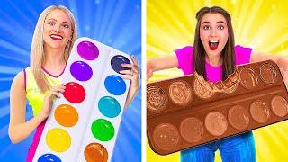 تحدي الطعام الحقيقي مقابل الشوكولاتة! || كيف تأكل الشوكولاتة ولا شيء غير الشوكولاتة