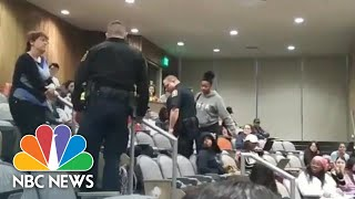 White Lecturer Calls Police On Black Student For Putting Feet Up | NBC News
