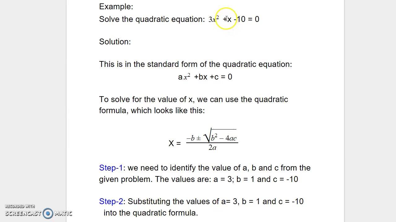 The Quadratic Formula Example 2 Youtube