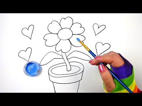 How To Draw Color And Paint Flower Pot Coloring Page For Kids To Learn Coloring Step By