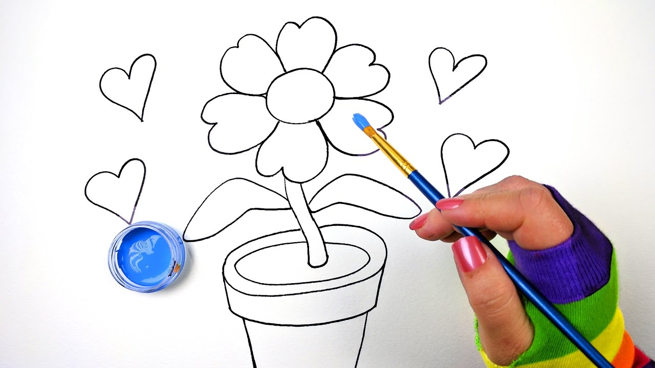 How to Draw Color and Paint Flower Pot Coloring Page for Kids to ...