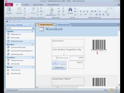 Create a Small Online Shop (MS Access 2010) - Teil 4 - Warenkorb
