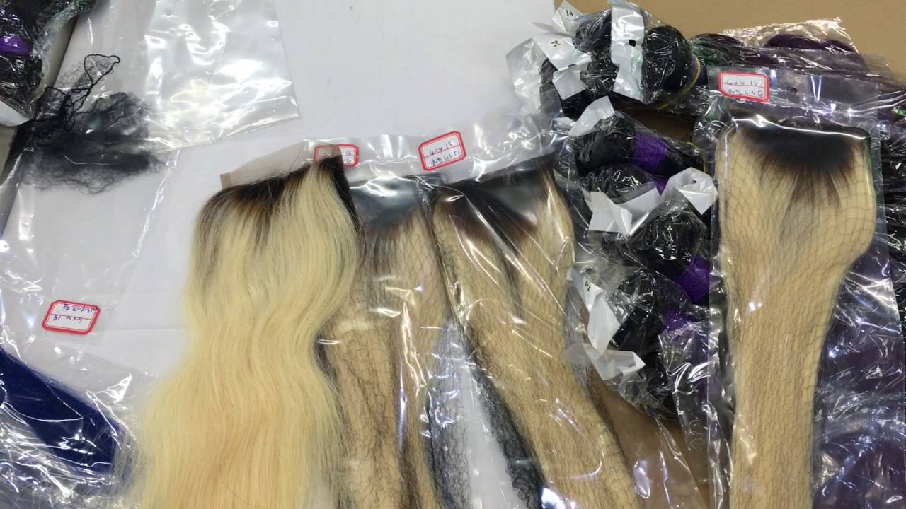 Ombre Dark Root Blonde Lace Closure New Color Hair Pieces Produce