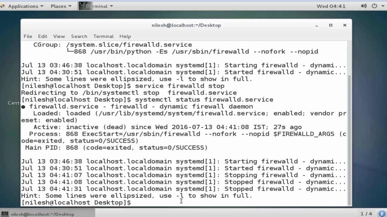 turning off firewall in centos 7