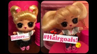 Our First Doll Hair Transformation! How To Fix Lol Surprise #hairgoals - Make Hair Soft & Brushable