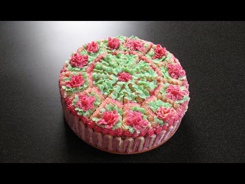 Торт с цветами. Простой бисквит и суфле. Украшение торта.