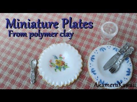 Miniature Plates Tutorial - Polymer clay Dollhouse miniature