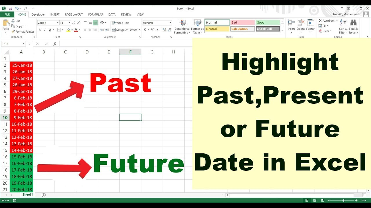 Highlight Present, Past or Future Dates in Excel | Conditional Formatting