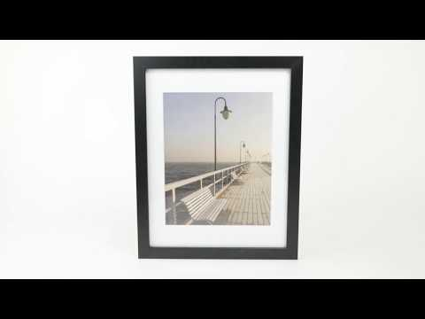 11X14 Black Photo Picture Frame For 8X10 Photo Display With Beveled Mat