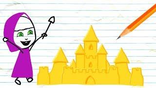 Masha Makes Sand Castles Pencil Cartoons ❤ Frozen Elsa Play Doh Cartoons ❤ Stop Motion Videos