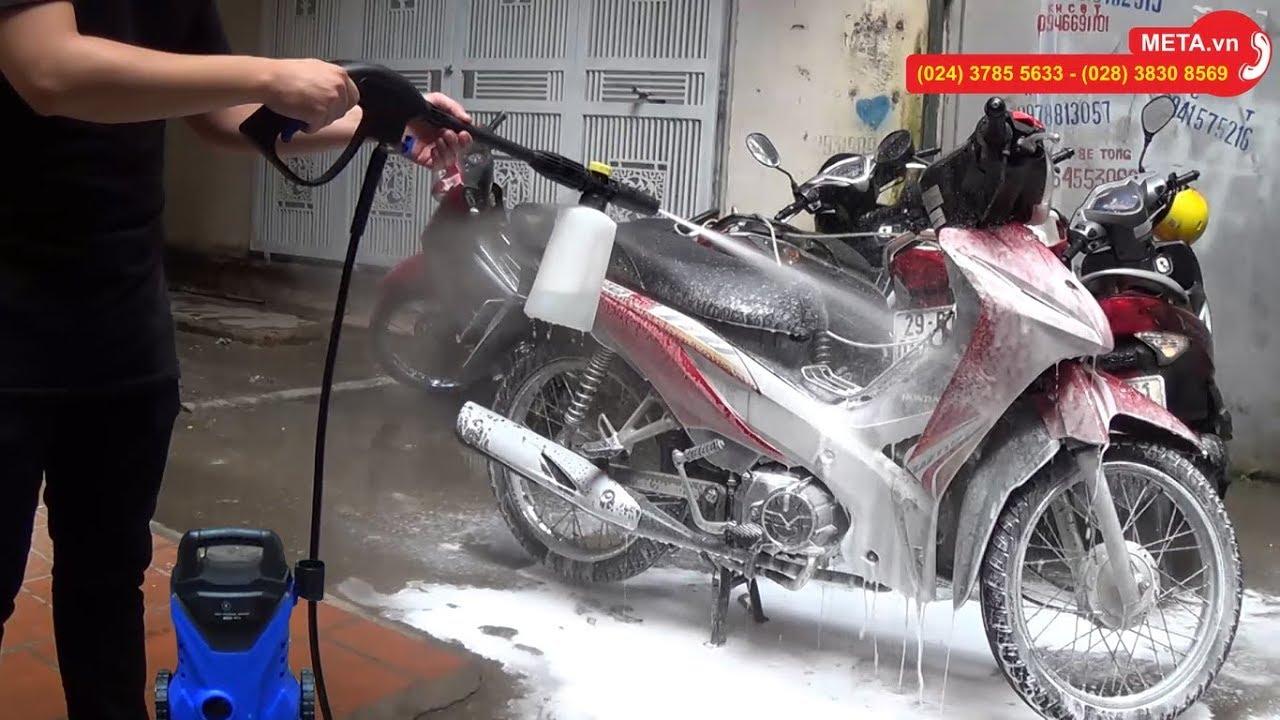 Test máy xịt rửa xe cao áp Kachi MK74 tự hút nước, bình phun xà phòng bọt tuyết, rửa xe cực sạch