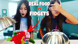 REAL FOOD vs FIDGETS  Emily and Evelyn