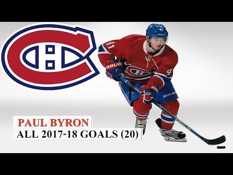 Paul Byron (#41) All 20 Goals of the 2017-18 NHL Season