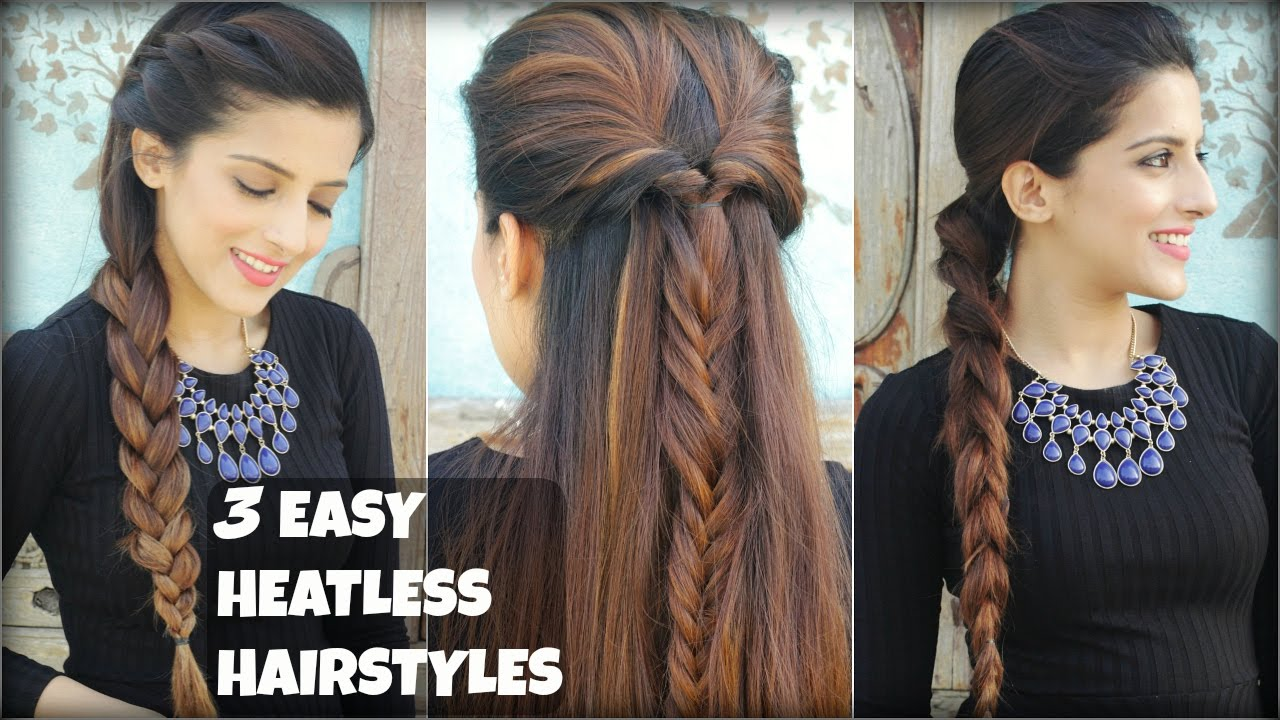 3 quick easy everyday braided hairstyles for medium to long hair 3 quick easy everyday braided hairstyles for medium to long hair heatless hairstyles youtube urmus Gallery