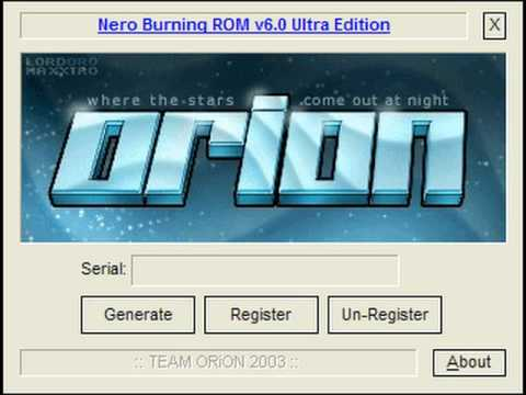 nero burning rom 6 ultra edition serial number