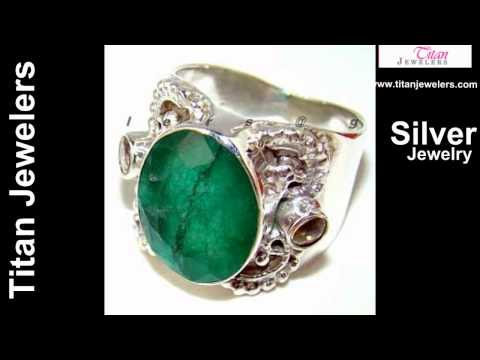 925 Sterling Silver Natural Emerald Gemstones Handmade Silver Jewelry