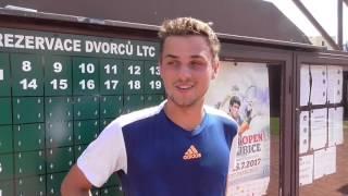 Štěpán Holiš po výhře v 1. kole kvalifikace na turnaji Futures v Pardubicích
