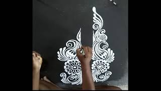 কালকা আল্পনা ডিজাইন , সুন্দর আল্পনা ডিজাইন কি ভাবে করবেন RANGOLI DESIGNS/ KOLAM WITH BRUSH
