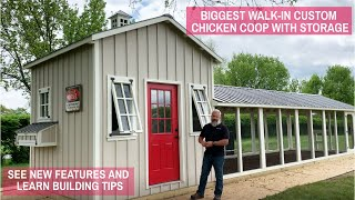 Biggest Walk-In Custom Chicken Coop with Storage | See New Features and Learn Building Tips