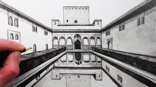 How to Draw 1-Point Perspective: The Alhambra Palace