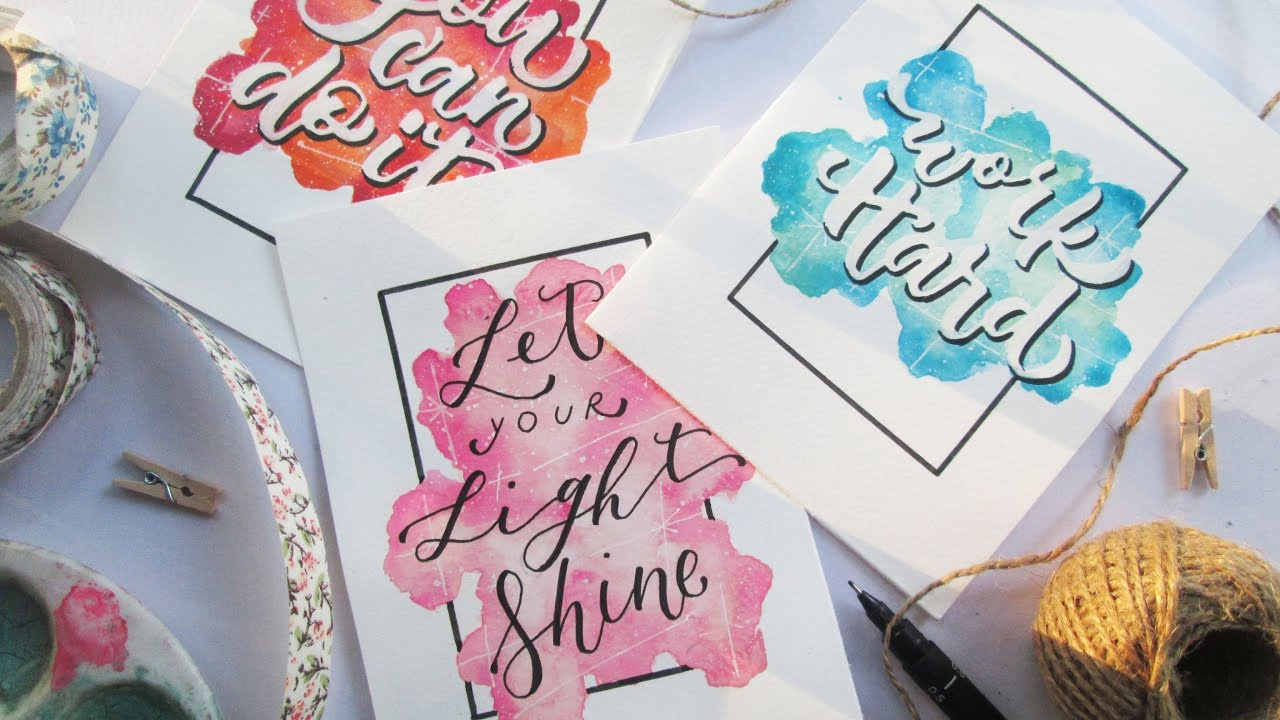 Fake Calligraphy M How To Diy Easy Watercolor Background And Calligraphy