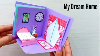 How To Make a beautiful Paper House /DIY Miniature paper House