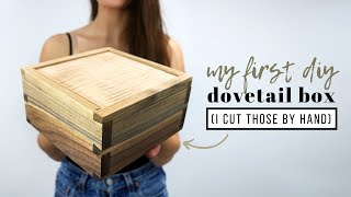 DIY Wooden Dovetail Box | My FIRST Hand Cut Joints With Pneumatic Addict & Erik Curtis