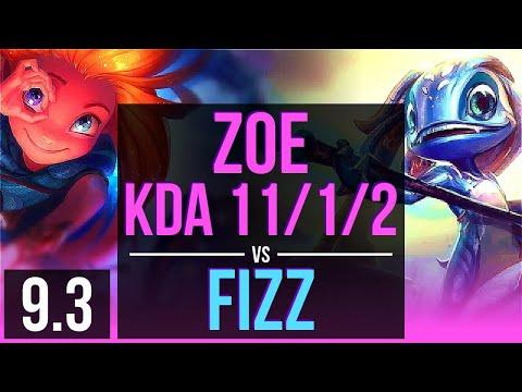 ZOE Vs FIZZ (MID) | 3 Early Solo Kills, KDA 11/1/2, Legendary | Korea Master | V9.3