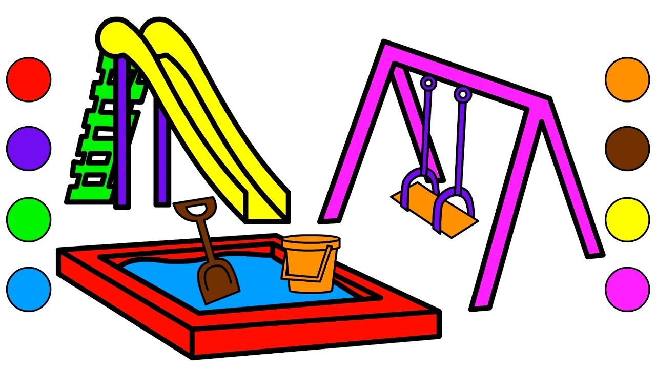 Coloring book page of a playground - Learn Colors For Kids With Park Playground Coloring Pages Colors Drawing Videos For Kids Children