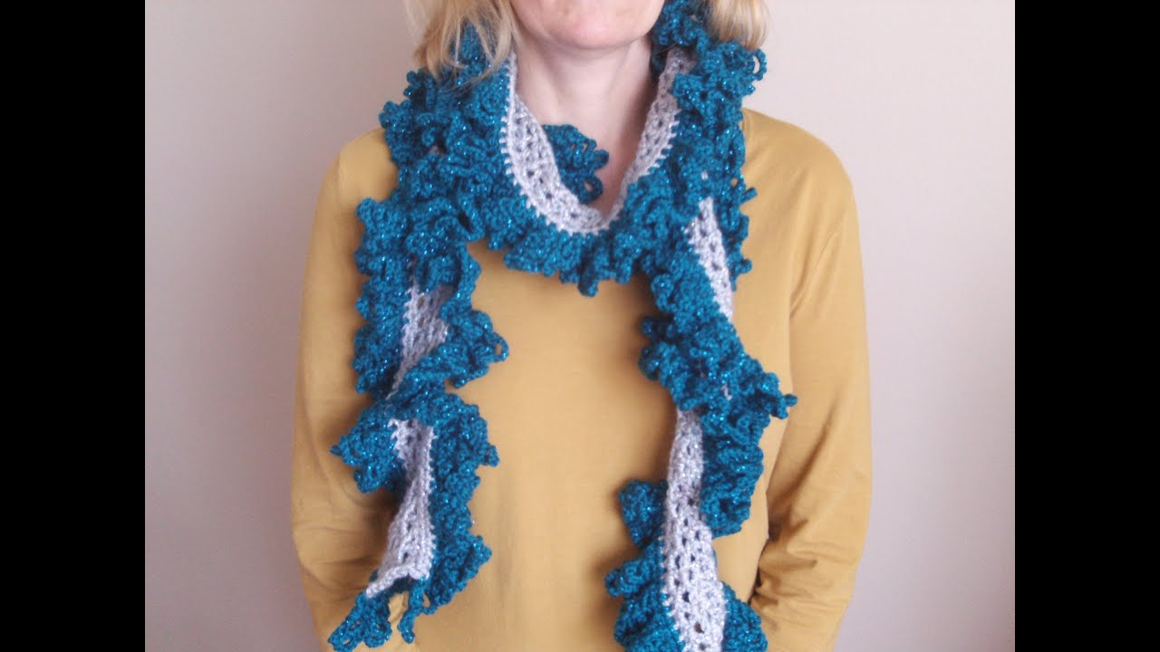 How to Crochet a Ruffle Scarf - YouTube