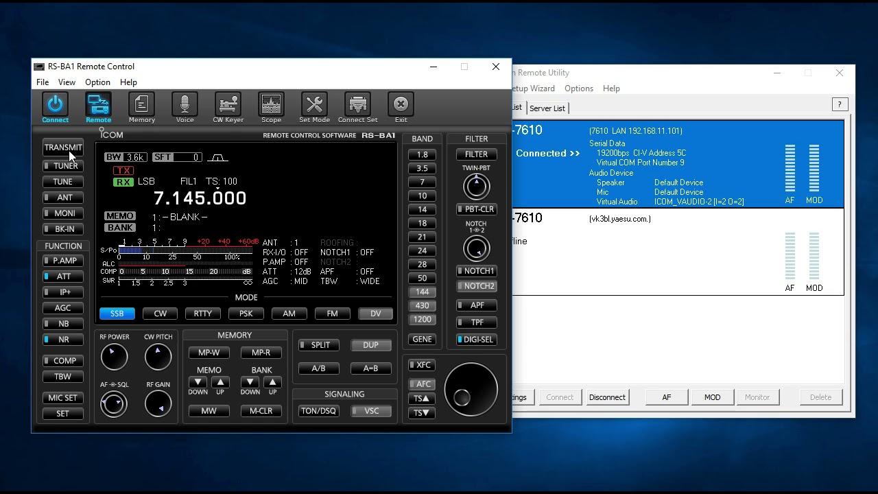 Icom IC-7610 & IC-7300 Internet Remote Operation with RS BA1 Demo