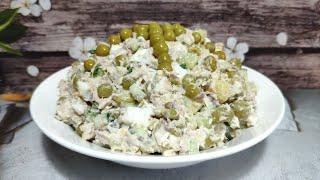 Вкусный салат с рыбными консервами . Простой рецепт рыбного салата !