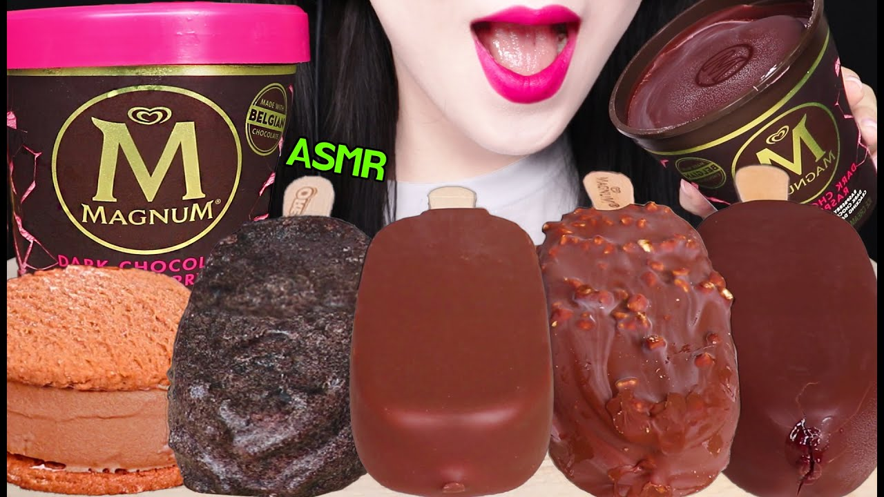ASMR CHOCOLATE ICE CREAM, MAGNUM ICE CREAM, OREO ICE CREAM 매그넘 초콜릿 아이스크림, 오레오 아이스크림 먹방 EATING SOUNDS
